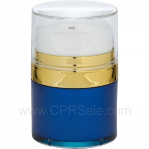 Airless Jar, Clear Cap with Tall White Pump, Shiny Gold Collar, Blue Body, 50 mL