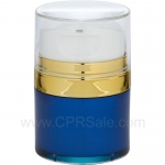 Airless Jar, Clear Cap, with Tall White Pump, Shiny Gold Collar, Blue Body with Natural Inner Cup, 30 mL
