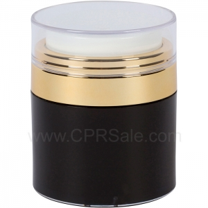 Airless Jar, Clear Cap, Shiny Gold Collar, Black Body with Natural Inner Cup, 50 mL
