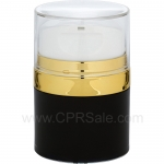Airless Jar, Clear Cap, with Tall White Pump, Shiny Gold Collar, Black Body with Natural Inner Cup, 30 mL