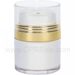 Airless Jar, Clear Cap, with Tall White Pump, Shiny Gold Collar, White Inner Cup, 15 mL