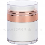 Airless Jar, Clear Cap, Shiny Rose Gold, White Inner Cup, 30 mL
