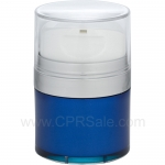 Airless Jar, Clear Cap, with Tall White Pump, Matte Silver Collar, Blue Body with Natural Inner Cup, 30 mL