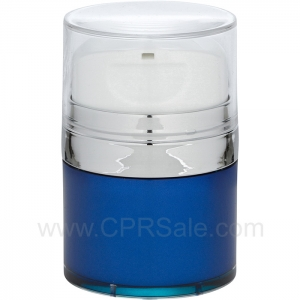 Airless Jar, Clear Cap with Tall White Pump, Shiny Silver Collar, Blue Body, 50 mL