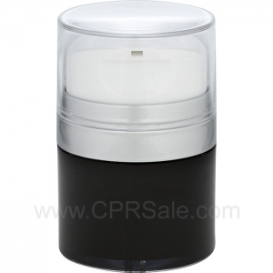 Airless Jar, Clear Cap with Tall White Pump, Matte Silver Collar, Black Body with Natural Inner Cup, 50 mL