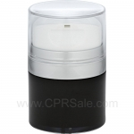Airless Jar, Clear Cap, with Tall White Pump, Matte Silver Collar, Black Body with Natural Inner Cup, 30 mL