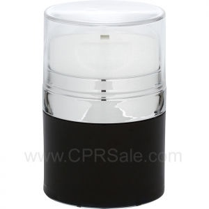 Airless Jar, Clear Cap, with Tall White Pump, Shiny Silver Collar, Black Body with Natural Inner Cup, 30 mL