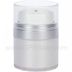 Airless Jar, Clear Cap, with Tall White Pump, Matte Silver Collar, Pearl Body, 15 mL