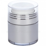 Airless Jar, Clear Cap, Shiny Silver Collar, Platinum Body with Natural Inner Cup, 30 mL