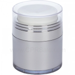 Airless Jar, Clear Cap, Shiny Silver Collar, Platinum Body with Natural Inner Cup, 50 mL