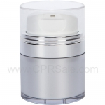 Airless Jar, Clear Cap, with Tall White Pump, Shiny Silver Collar, Platinum Body, 15 mL