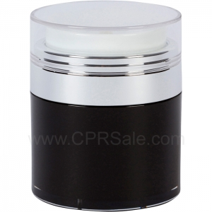 Airless Jar, Clear Cap, Shiny Silver Collar, Black Body with Natural Inner Cup, 50 mL