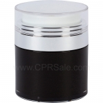 Airless Jar, Clear Cap, Shiny Silver Collar, Black Body with Natural Inner Cup, 30 mL