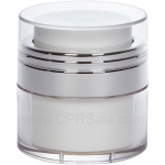 Airless Jar, Clear Cap, Shiny Silver Collar, White Inner Cup, 15 mL