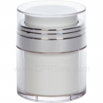 Airless Jar, Clear Cap, Shiny Silver Collar, Clear Outer Body with White Inner, 30 mL