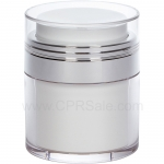 Airless Jar, Clear Cap, Shiny Silver Collar, White Inner Cup, 50 mL