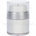 Airless Jar, Clear Cap, with Tall White Pump, Matte Silver Collar, Opaque White Inner, 30 mL