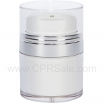 Airless Jar, Clear Cap, with Tall White Pump, Shiny Silver Collar, White Inner Cup, 15 mL