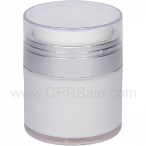 Airless Jar, Clear Cap, Matte Silver Collar, Cool White Body, 50 mL