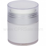 Airless Jar, Clear Cap, Matte Silver Collar, Opaque White Body, 30 mL