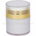 Airless Jar, Clear Cap, Shiny Gold Collar, Cool White Body, White Inner Cup, 30 mL