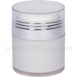 Airless Jar, Clear Cap, Shiny Silver Collar, Cool White Body, 50 mL