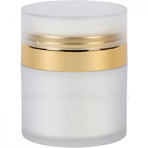 Airless Jar, Frosted Cap, Shiny Gold Collar, White Inner Cup w/Frosted Outer, 50 mL - Texas