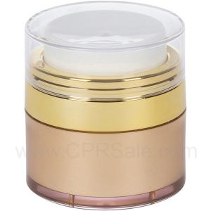 Airless Jar, Clear Cap, Shiny Gold Collar, Gold Body, 15 mL