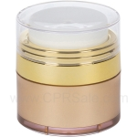 Airless Jar, Clear Cap, Shiny Gold Collar, Gold Body, 15 mL