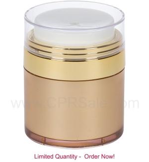 Airless Jar, Clear Cap, Shiny Gold Collar, Gold Body, 30 mL