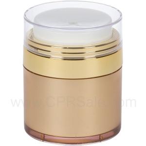Airless Jar, Clear Cap, Shiny Gold Collar, Gold Body, 50 mL