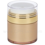 Airless Jar, Clear Cap, Shiny Gold Collar, Gold Body, 50 mL