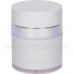 Airless Jar, White Cap, Shiny Silver Collar, Cool White Outer Body with White Inner Cup, 50 mL