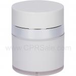 Airless Jar, White Cap, Shiny Silver Collar, Opaque White Body, 30 mL