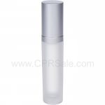 Acrylic Treatment Bottle, Matte Silver Cap, Matte Silver Collar, Frosted Body, Round 30 mL