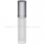 Acrylic Treatment Bottle, Matte Silver Cap, Matte Silver Collar, Frosted Body, White Inner, Round 30 mL