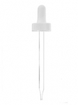 Glass Pipette, 7 x 76mm, White PP Ribbed Skirt Dropper with Rubber Bulb, 20-400